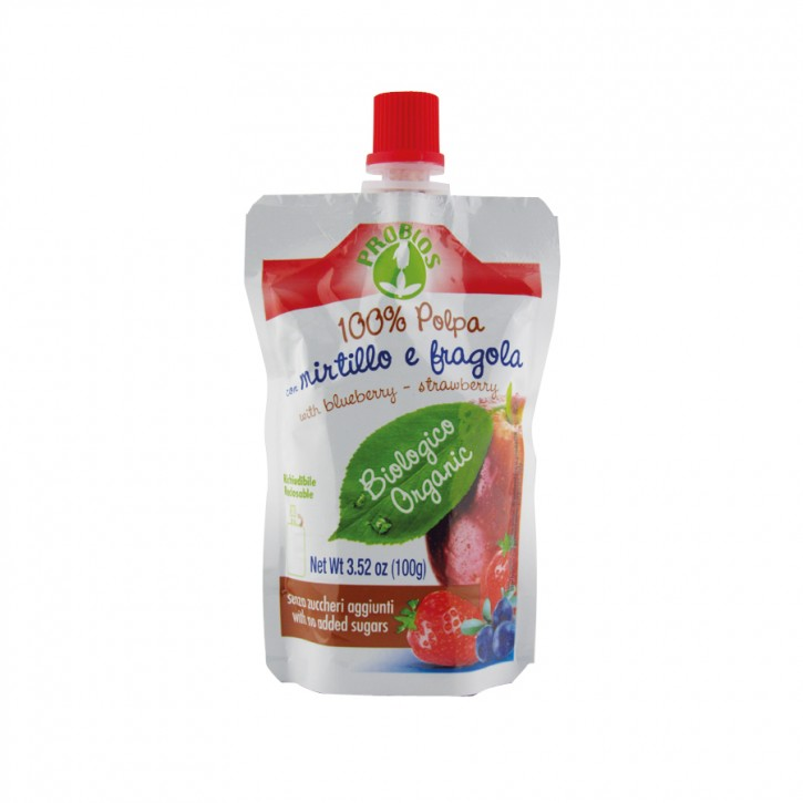 Polpa Mirtillo e fragola bio 100g Probios